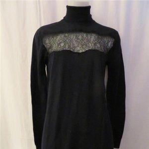 THANKOON BLACK TURTLENECK 100% WOOL LACE DRESS M